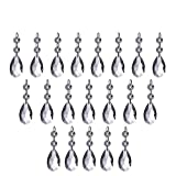 20 PCS Crystal Pendants,Htianc Crystal Teardrop Chandelier Prisms Pendants Parts Beads,Crystal Beads Drop Pendants Chandelier Curtain Lamp Chain Prisms for Wedding Party Decoration