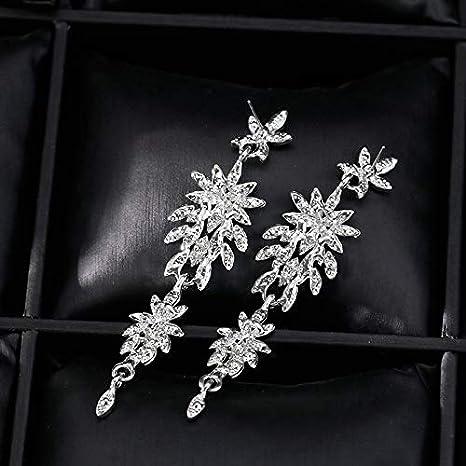 bd61c823b412 Joyfeel buy Pendiente Borla Pendiente Colgante aretes Largos de Mujer  Pendientes de Temperamento con Cristal Artificial Brillante Plata (1 par)   Amazon.es  ...