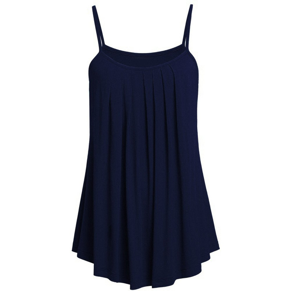 iSkylie Womens Plus Size O-Neck Vest Pleated Sleeveless Cami Spaghetti Straps Camisole Tunic Swing Tank Tops Casual Loose Shirt Summer Sling Vest (A(Navy), M)