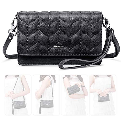 nuoku Women Small Crossbody Bag Cellphone Purse Wallet with RFID Card Slots 2 Strap Wristlet(Max 6.5'') ... (Black1)