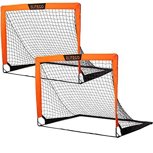 EliteGo Portable Soccer Goal | Instant Pop Up Net | Fiberglass Poles, Sets of 2 (Orange)