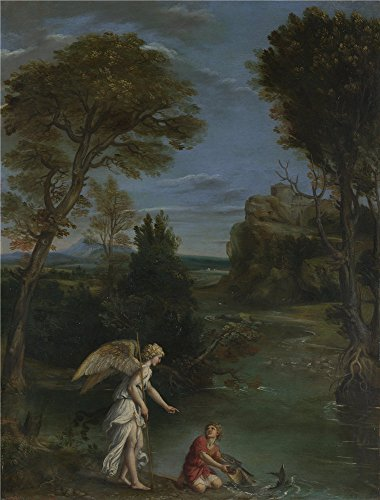['Domenichino Landscape With Tobias Laying Hold Of The Fish ' Oil Painting, 30 X 39 Inch / 76 X 100 Cm ,printed On Polyster Canvas ,this Cheap But High Quality Art Decorative Art Decorative Prints On Canvas Is Perfectly Suitalbe For Home Theater Gallery Art And Home Decoration And] (Dead Poets Society Costume)