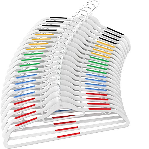 Vremi Clothes Hangers 20 Pack - Non Slip Ultra Slim Plastic Hanger Set with Secure Grip Strips and Durable Chrome Metal Hooks - Gray and Multi Color