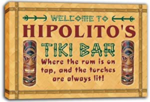 scpm1-0979 HIPOLITO'S Tiki Bar Mask Beer Stretched Canvas Print Sign