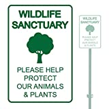 "WILDLIFE SANCTUARY PLEASE HELP PROTECT OUR ANIMALS & PLANTS HEAVY DUTY ALUMINUM SIGN 10"" x 15"""