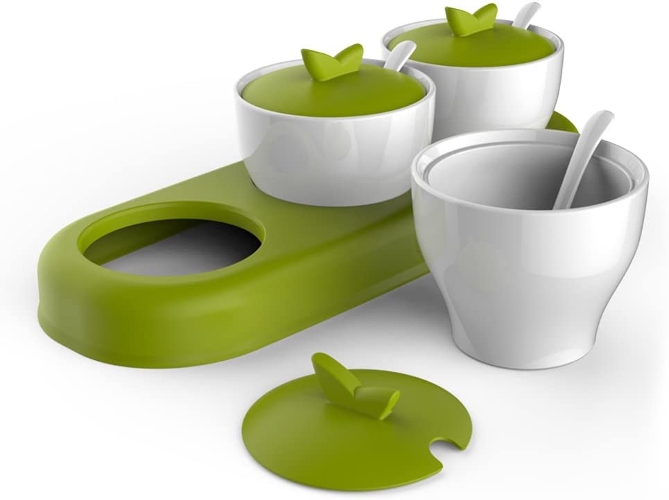 Condiment Pots w//Serving Spoons Set of 3 Lime Green /& White Ceramic Floral Tree Motif 7-oz Spice Jars Tray