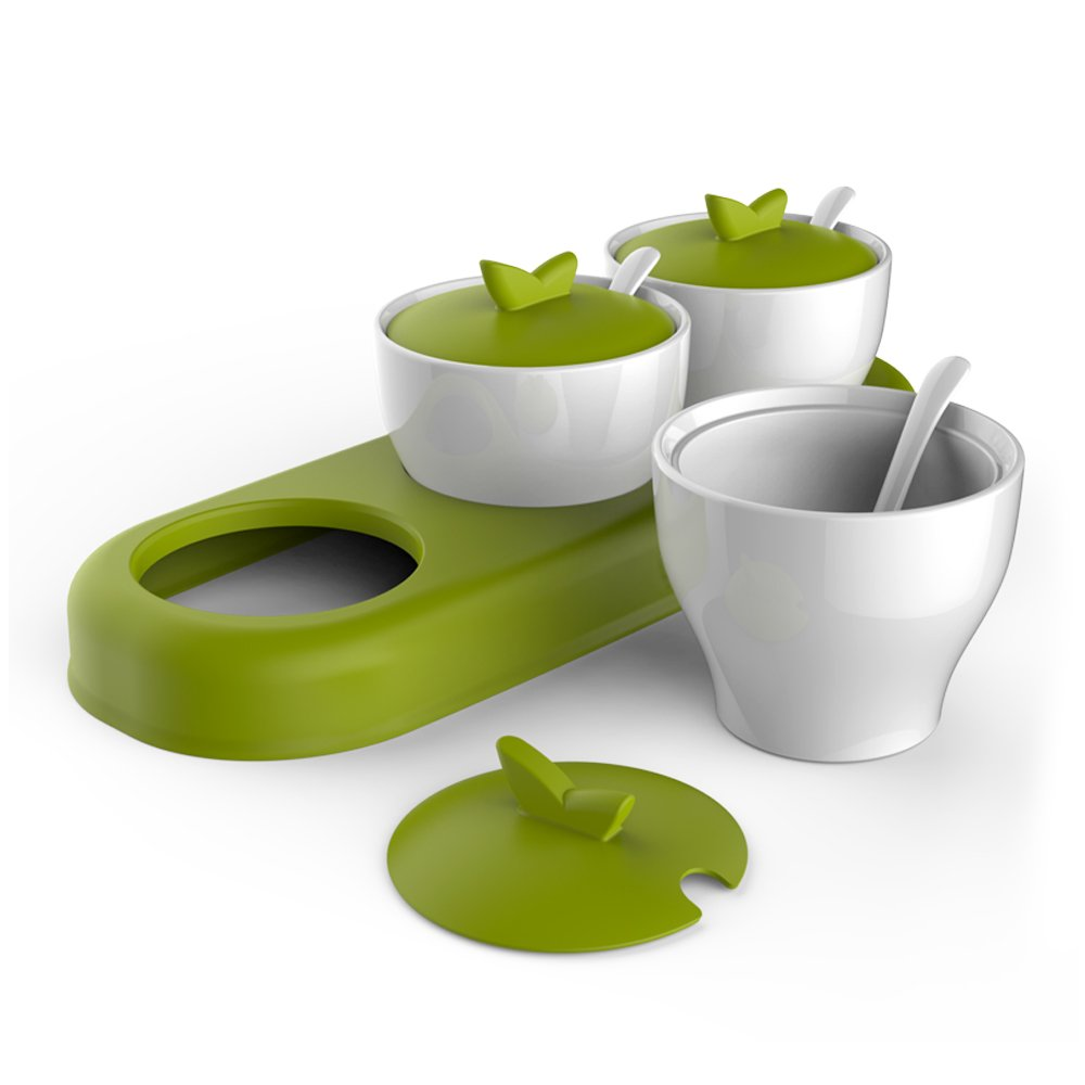 zova Ceramic Condiment Spice Jars Seasoning Box with Lid, Serving Spoon and Tray, Set of 3, White & Green