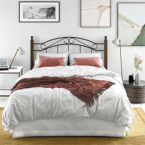 Dorel Living Vega Wood and Metal Queen/Full Headboard, Dark Walnut, Black
