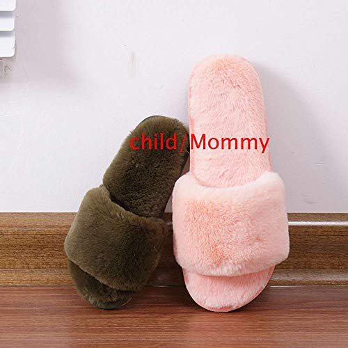 Slippers Slide Open Indoor Fashion 5 Outdoor Toe Fur Pink Women Kids Fluffy Home dwSqfd