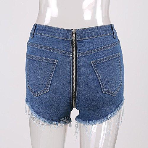 Navy bleu M YYJZJW courtes pour Femmes courtes pour Femmes Jupes Courtes Pantalon Chaud Pure Hanches Poches à glissière Jeans Franges Femmes