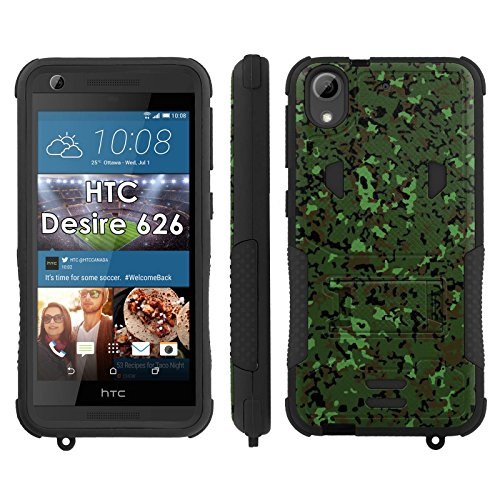 Flak Jacket Dual Armor with Kick-stand Phone Cover, Dark Green Camo - Mobiflare HTC Desire 626 Flak Jacket Dual Armor with Kick-stand Phone ()