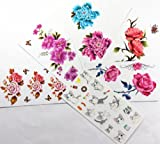 Combineshopping latest hot selling new design waterproof non-toxic temporary tattoo stickers combination 6pcs/package different designs, it includes various colorful flowers/roses/butterflies/cartoon birds/bees/rabbits/etc.)