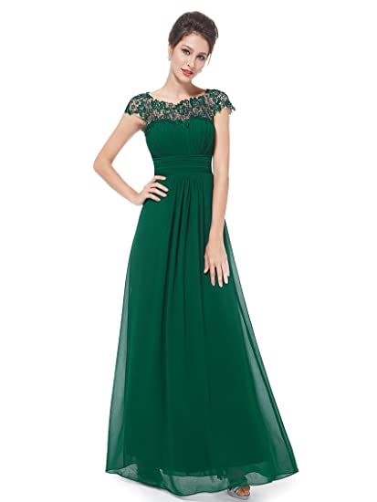 e28290edf2a Ever Pretty Women s Lace Open Back Floor Length Evening Gown Dresses Dark  Green 8UK