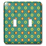 3dRose Anne Marie Baugh - Patterns - Cute Red, Yellow, Peach, and Green Mexican Flower Pattern - Light Switch Covers - double toggle switch (lsp_295464_2)