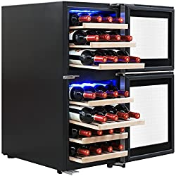 AKDY 33 Bottles Dual Zone LED Display Touch Control Freestanding Electric Wine Cooler Compressor Within