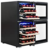 AKDY 33 Bottles Dual Zone Built-in Compressor Freestanding Electric Wine Cooler Cellar