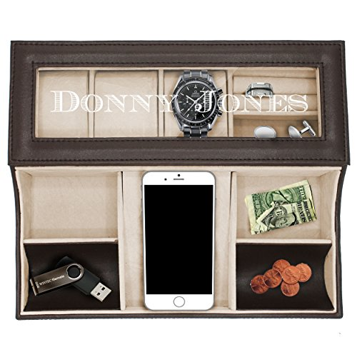 Personalized Leather Valet Tray Box - Custom Monogrammed Mens Dresser Organizer Catchall (Black) ()