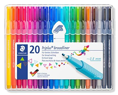 STAEDTLER 338 Triplus Broadliner, Assorted Colours, Pack of 20