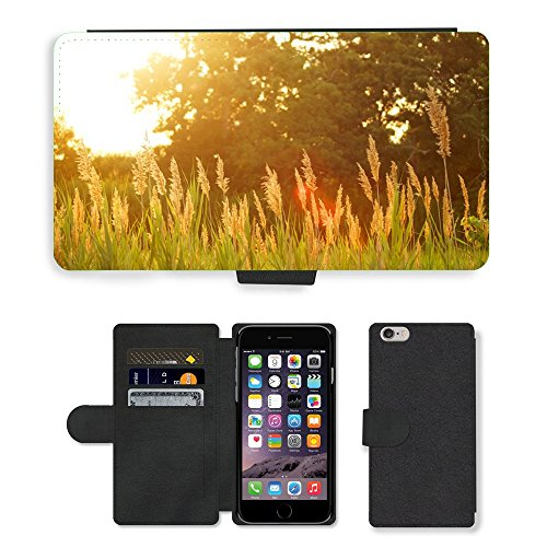 "PU Leather Cover Custodia per // M00421746 Coucher de soleil Champ Plantes Nature // Apple iPhone 6 PLUS 5.5"""