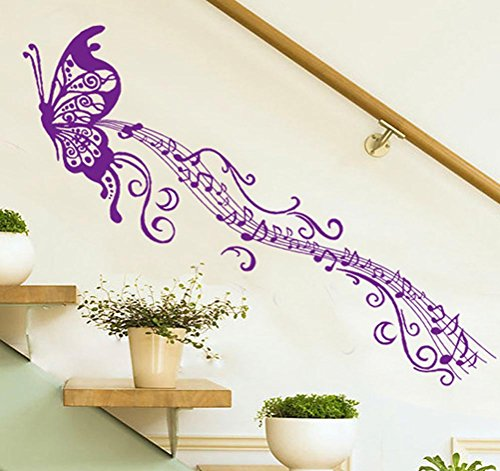 BIBITIME Purple Butterfly Music Note Wall Decal Long Tail Musical Staves Vinyl Sticker for Fans Bedroom Living Room Background Decoration DIY 66.92