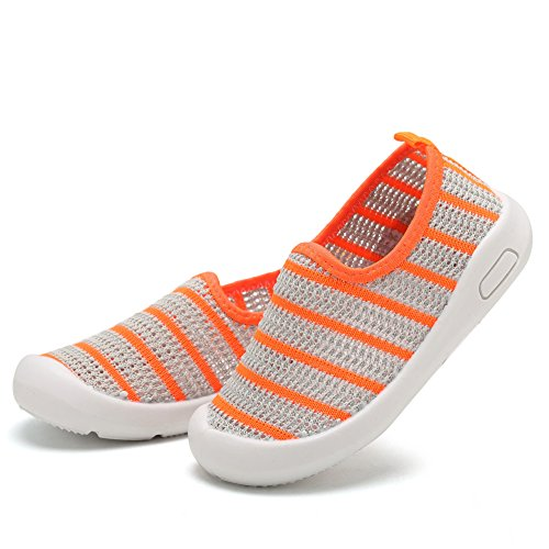 CIOR Kids Slip-on Casual Mesh Sneakers Aqua Water Breathable Shoes For Running Pool Beach (Toddler/Little Kid) SC1588 Grey 26 6