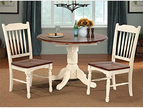 A-America British Isles 42 Round Double Drop-Leaf Dining Table – Merlot-Buttermilk