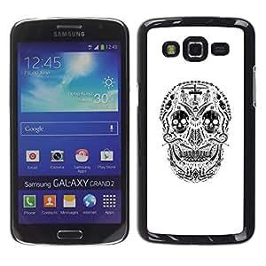 GOODTHINGS Funda Imagen Diseño Carcasa Tapa Trasera Negro Cover Skin Case para Samsung Galaxy Grand 2 SM-G7102 SM-G7105 - cráneo sonrisa blanca y negro de la muerte espeluznante