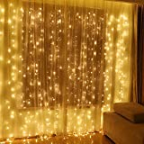 indoor icicle lights led - Twinkle Star 600 LED Window Curtain String Light for Wedding Party Home Garden Bedroom Outdoor Indoor Wall, Warm White