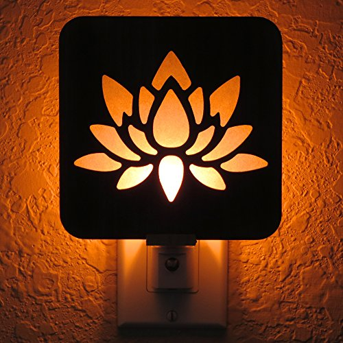 Handmade Lotus Flower Wood Night Light