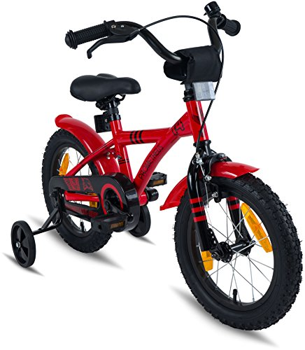 "PROMETHEUS Kids bike 14 inch Boys and Girls in Red & Black with stabilisers | Aluminum Calliper brake and backpedal brake | including security package | as from 4 years | 14"" BMX Edition 2018 by PROMETHEUS BICYCLES®"