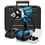 Neiko 10878A 20 V Lithium-Ion Cordless Impact Wrench with Li-Ion Battery, Fast Charger and Socket Adapters Set |...