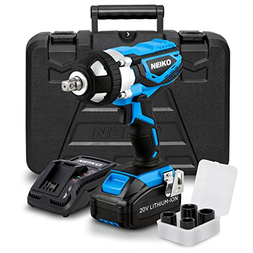 Wrench Neiko - Neiko 10878A 20 V Lithium-Ion Cordless Impact Wrench with Li-Ion Battery, Fast Charger and Socket Adapters Set | 1/2-Inch Square Drive
