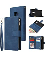 Jorisa Wallet Case Compatible with Samsung Galaxy S9,Retro PU Leather Zipper Magnetic Flip Phone Case with Card Slots Wrist Strap Folio Book Style Purse Stand Protective Cover,Blue