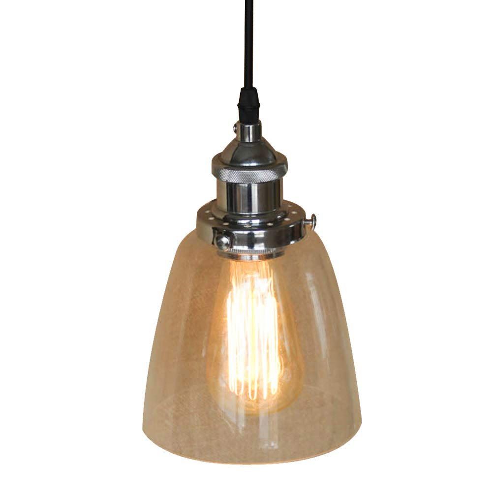 Industrial glass light fixtures motent 5 5 inches dia vintage clear glass cup bell shaped one light pendant light ceiling lamp shade set for kitchen