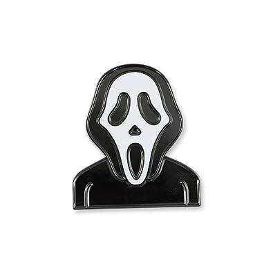 Forge Scream Mask Halloween Emoji Black Ghost Face Scary Movie Enamel Lapel  Pin