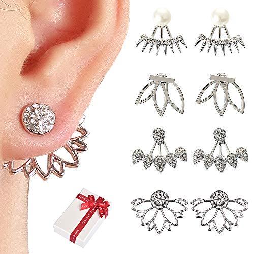 Juland 4 Pairs Hollow Lotus Flower Earrings Back Cuffs Jacket Earrings Crystal Simple Chic Stud Earrings Set for Women Girls - Silver