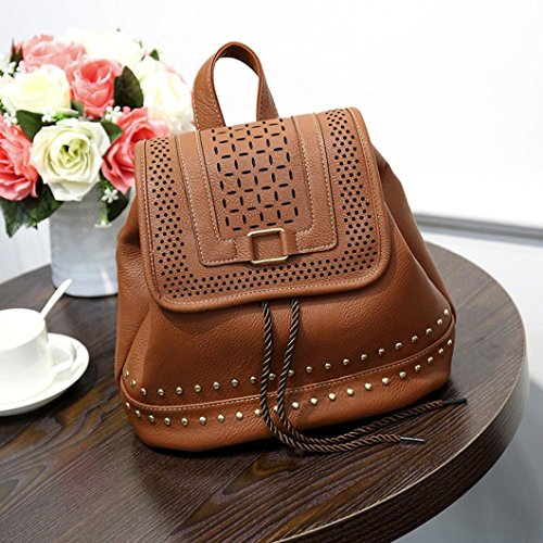Women Hollow Brown Rucksack Waterproof Travel Vintage Backpack Anti Zerototens Leather Rucksack Bag Shouder Drawstring Theft Zipper Girls Bag School S4CBndq