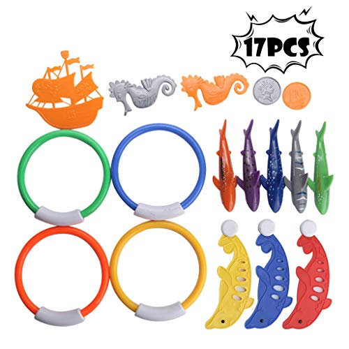 (17 Pack Underwater Swimming/Diving Pool Toys Diving Rings(4 Pcs), Diving Dolphins(3 Pcs), Torpedo Sharks(5 Pcs),Gold (2 Pcs), Seahorses (2 Pcs),Ship (1 Pcs) and A Storage Net(Shipped from USA))