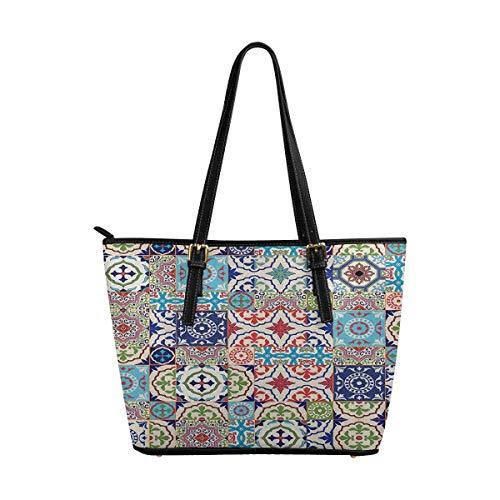 (InterestPrint Top Handle Satchel HandBags Shoulder Bags Tote Bags Purse Mega Gorgeous Patchwork Pattern )