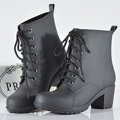 LvRao Botas Tacón Alto para Mujeres Boots Corto de Lluvia Nieve Botines de Gama Impermeable con Cordones de Zapatos Negro
