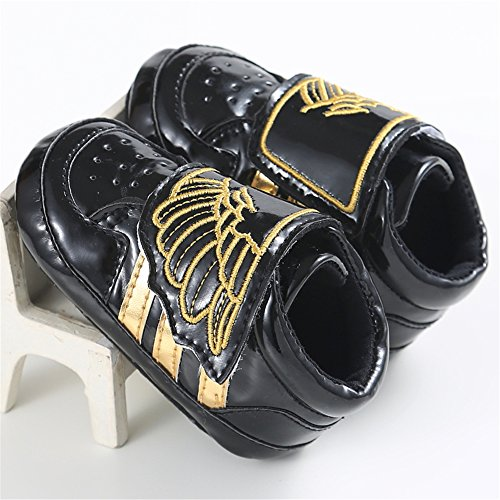 [Samber Infant Baby Angel Wings Premium Soft Cotton Sole Prewalker Toddler Sneaker Shoes,Black] (Light Up Angel Wings)