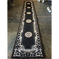 Traditional Long Runner Area Rug Kingdom Black Design D123 (2 Feet 4 Inch X 10 Feet 11 Inch )