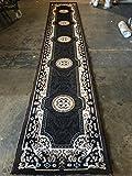 Traditional Long Runner Area Rug Kingdom Black Design D123 (2 Feet 4 Inch X 10 Feet 11 Inch )