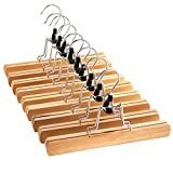 ZOBER Premium Wooden Pants Hangers (Set of 10) Solid Lacquered Non Slip Trouser Hanger, Cloth Safe Lock Skirt Hangers, 360 Degree Swivel Hook, for Skirts, Pants, Jeans, Slacks, Shorts, (Natural Wood)