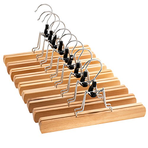 High-Grade Wooden Pants Hangers with Clips 10 Pack Non Slip Skirt Hangers, Smooth Finish Solid Wood Jeans/Slack Hanger with 360° Swivel Hook - Pants Clip Hangers for Skirts, Slacks - - Jean 12 Pencil Leg