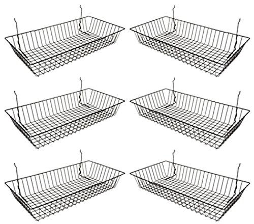 Only Garment Racks #5624B (Pack of 6) Black Wire Baskets for Grid Wall, Slat Wall or Pegboard - Merchandiser Baskets, Black Wire Basket 24