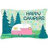 "Caroline's Treasures Happy Campers Glamping Trailer Fabric Decorative Pillow, 12"" x 16"", Multicolor"