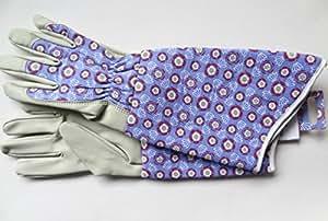 Tudor Rose guante de cocina para horno guantes de jardinería para mujer azul y rojo para mujer tamaño mediano