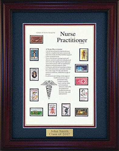 American Stamp Art by Creative Framing Nurse Practitioner - Unique Framed Collectible (A Great Gift Idea) with Personalized Engraved (Collectible Gift Plate)