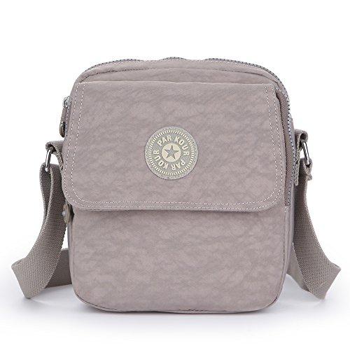 Sumcoa Nylon Crossbody Bag Waterproof Shoulder Handbag with multi pockets (grey)
